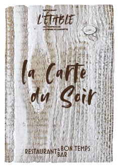 carte du soir du restaurant l'Etable à La Bresse