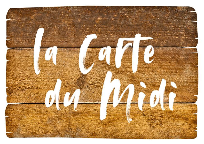 La carte menu du midi du restaurant l'Etable à la Bresse