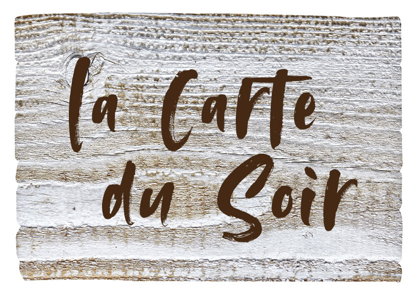 La carte menu du soir du restaurant l'Etable à la Bresse
